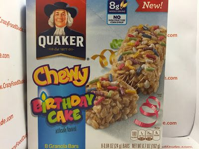 Crazy Food Dude Review Quaker Chewy Birthday Cake Granola Bars
