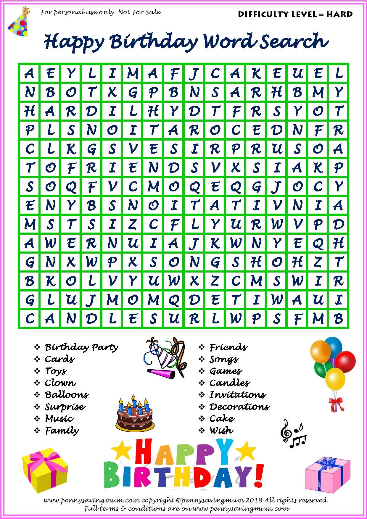 Word Search Happy Birthday Hard Version