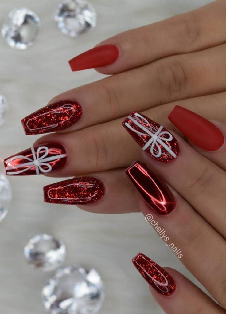 54 Festive Christmas Nail Art Ideas - winter nail art ideas , winter nail art, c...