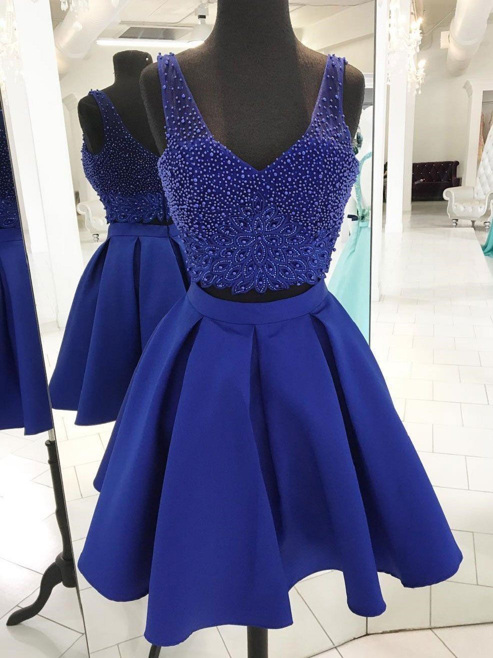 V neck beaded royal blue two piece homecoming dresses cm in