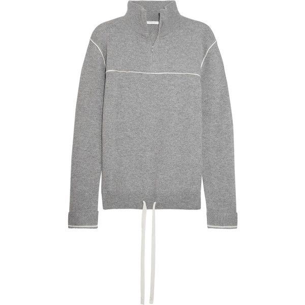 Chloé Cashmere turtleneck sweater (£845) via Polyvore featuring tops, sweaters, zip top, zipper top, turtleneck tops, zip sweater and polo neck top