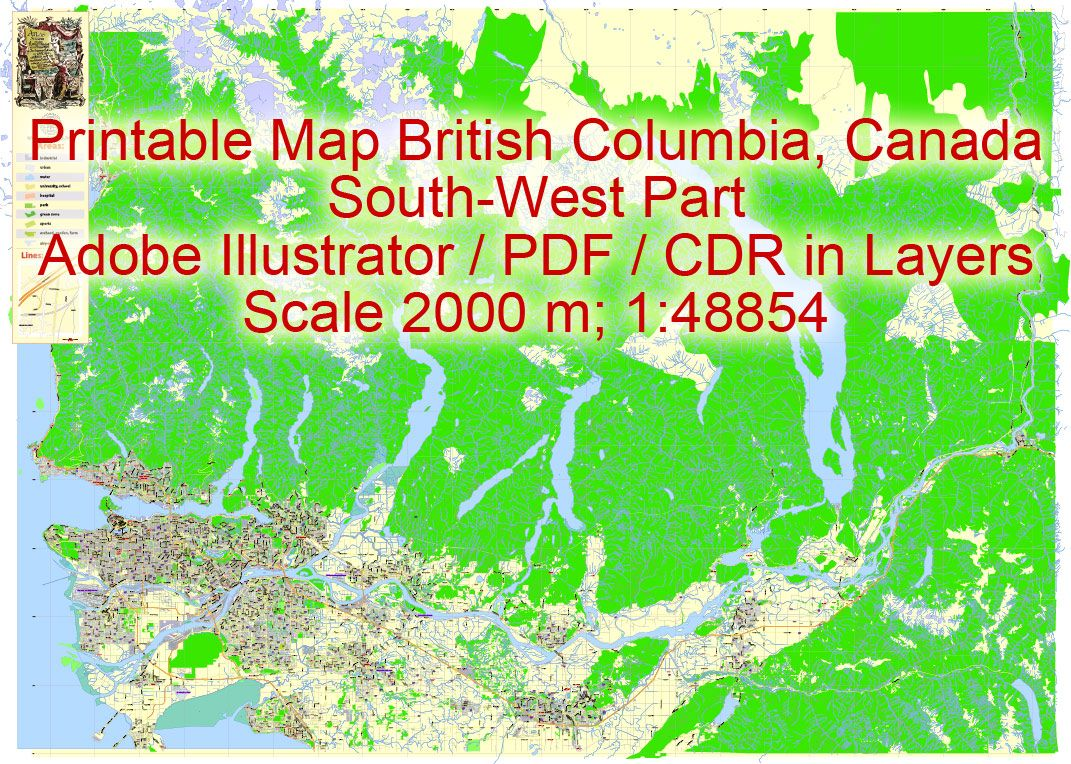 British Columbia South-West part Editable PDF Map, Canada ...