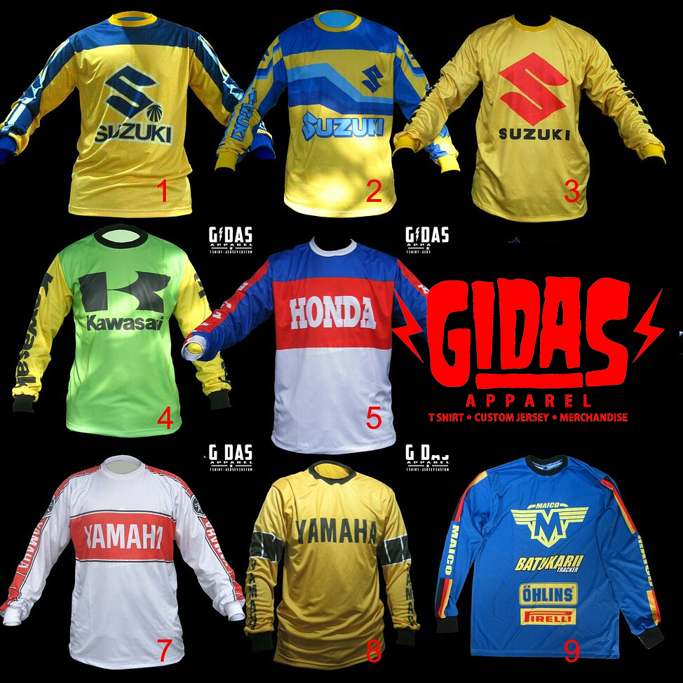 Gidas Apparel Custom Jersey Vintage Motocross Jersey Whatsapp 082137240629 Email Gidasapp Gmail Com Vintage Motocross Motocross Shirts Motorcycle Style