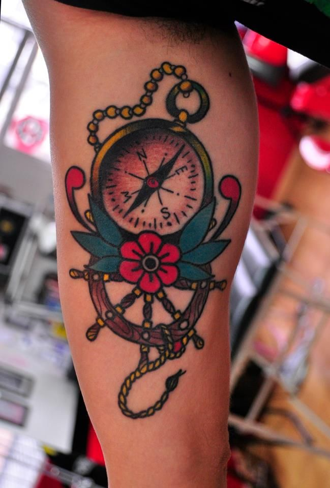 Old school compass tattoo looking for my way on the world by leets bogota right arm - Tatouage rose signification ...