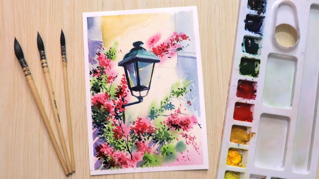 Watercolor Painting For Beginners Beautiful Flower And Lamp