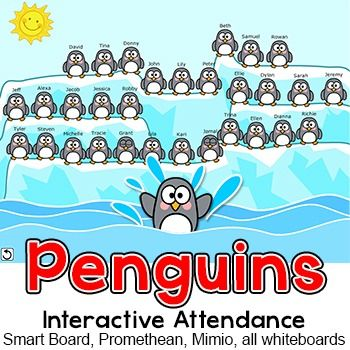 Penguins Theme Attendance for Interactive Whiteboards - Winter - attendance sheet for students