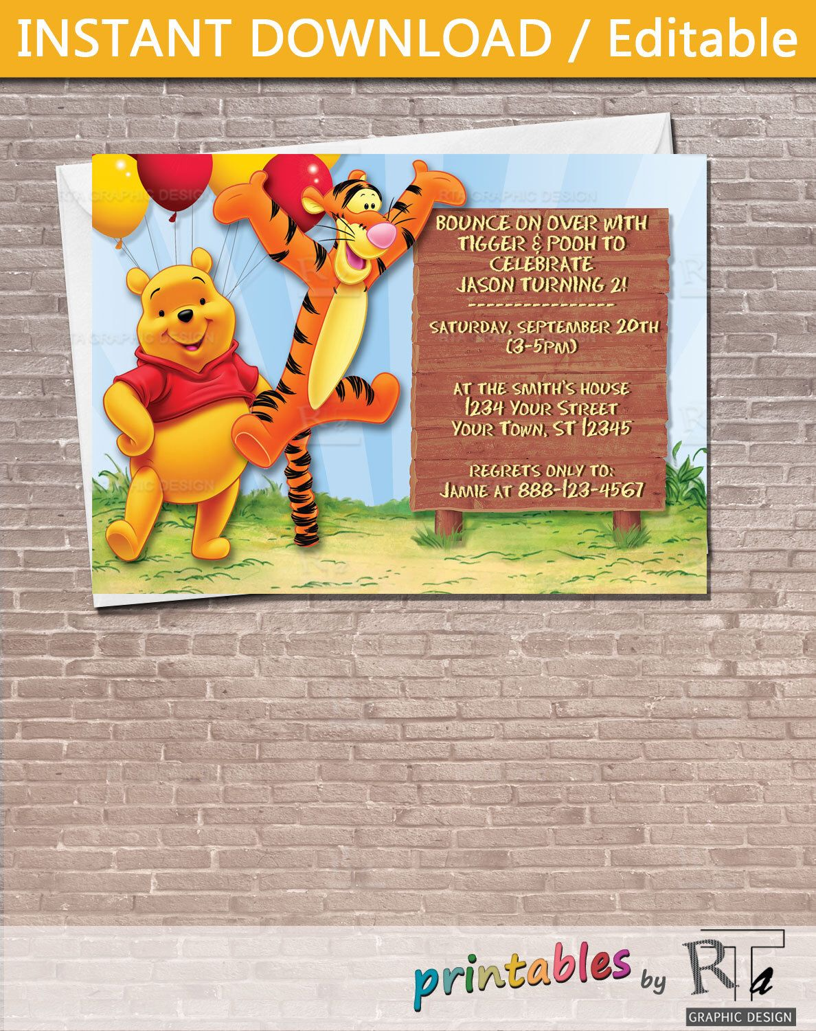 Winnie the Pooh and Tigger Party Invitation Download Editable – Tigger Birthday Party Invitations