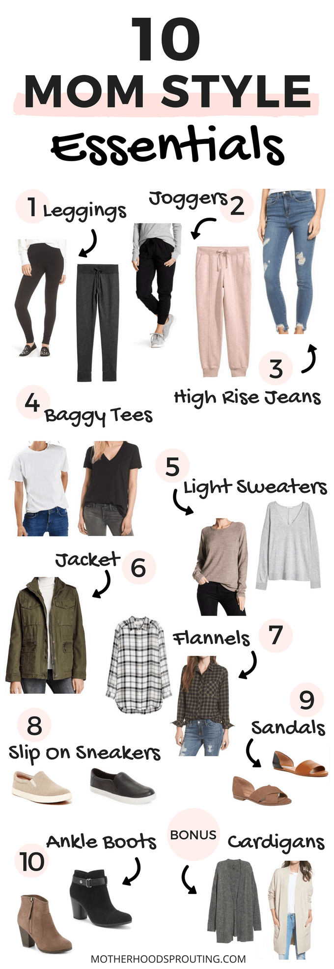 Learn the 10 mom style essentials every mama should have to make getting dressed in the morning a quick and easy process! The 10 mom style clothing it…