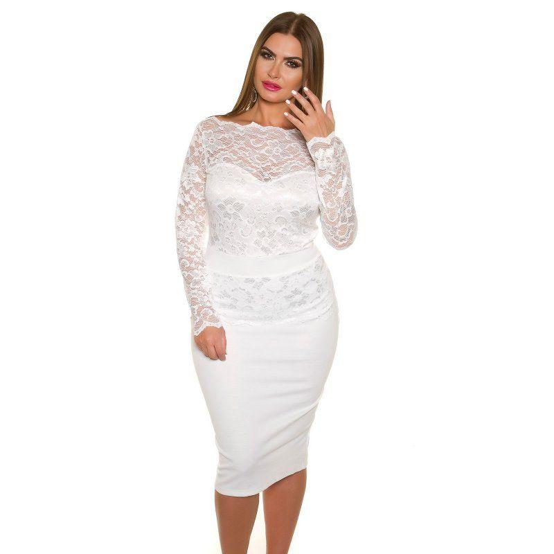 Dámske čipkované šaty pre moletky KouCla Biela 063b76aac06