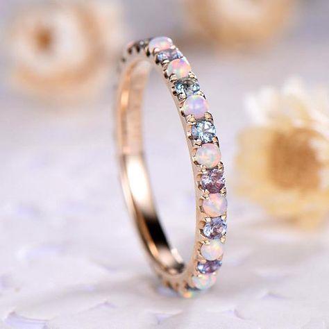 Opal Hochzeit Band Farbe ändern Alexandrit Engagement Ring 14 k 18k 925 Sterling Silber Gelbgold voller Ewigkeit Braut Stapeln Ring Frauen #aquamarineengagementring