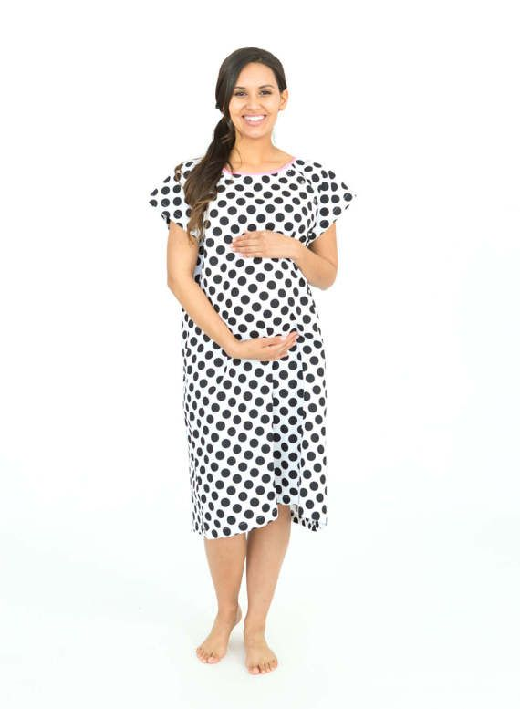 ebbf7a5b4a96a Celine Black and White Dotted Labor Delivery Maternity Hospital Gown Baby  Be Mine Gownie Hospital Ba