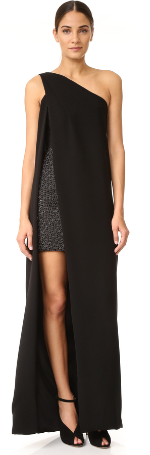 Monique Lhuillier One Shoulder Gown with Mini Dress, Hollywood ...
