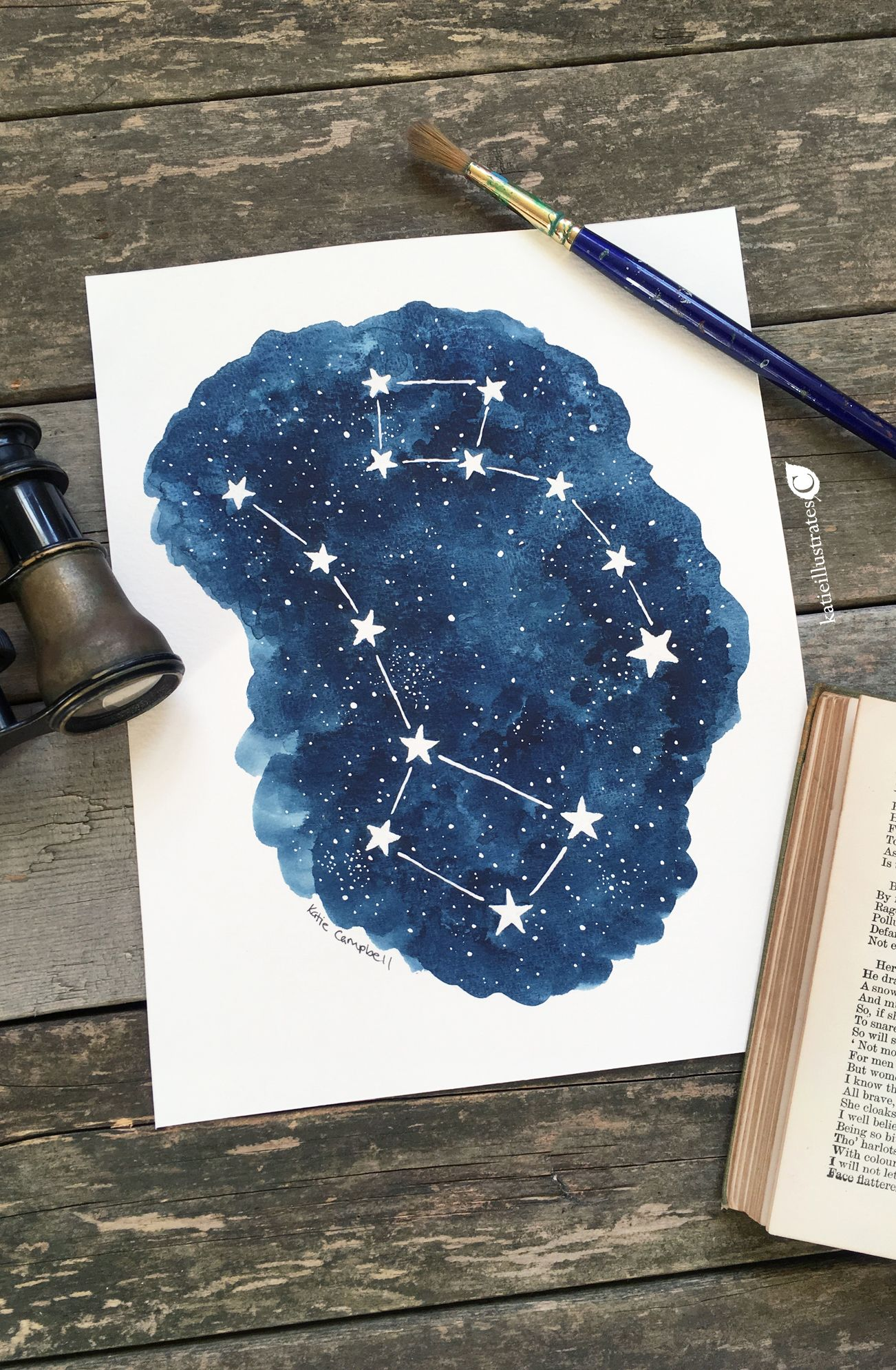 Original Watercolor Gouache Painting Of The Big Dipper And