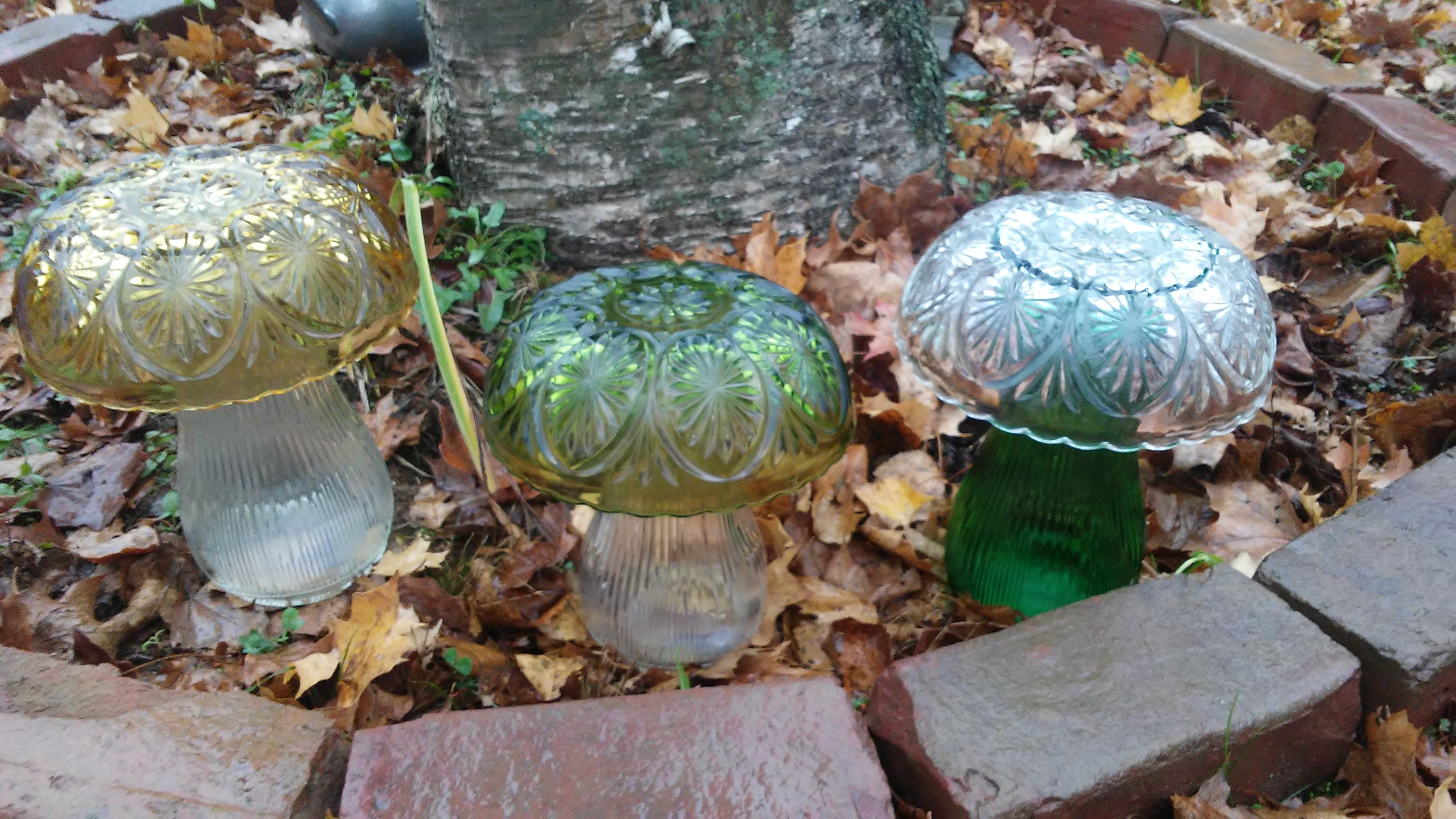 Repurposed Glass Mushroom Garden Decor Yard Art Glass Mushrooms Garden Decor
