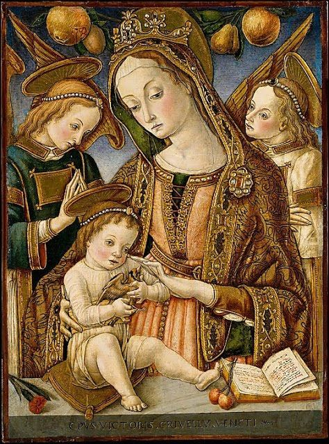 Vittore Crivelli Italian C 1465 Madonna and Child with 2 Angels