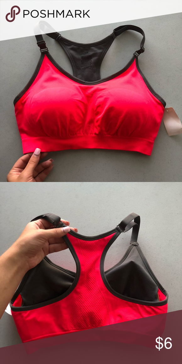 2f99c4522d Sports Bra Hot pink coral color. Size large which is about size 12-14. Walmart  Intimates   Sleepwear Bras