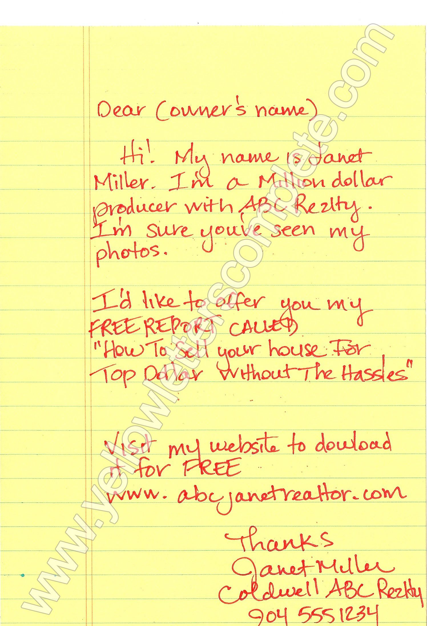 Yellow Letter Templates  Letter Templates Real Estate Investing