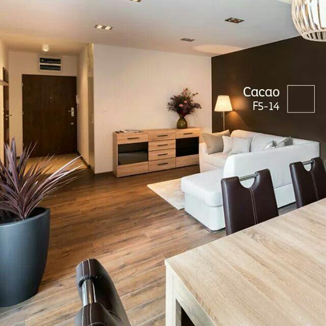 Sala blanca, madera chocolate Colores de casas