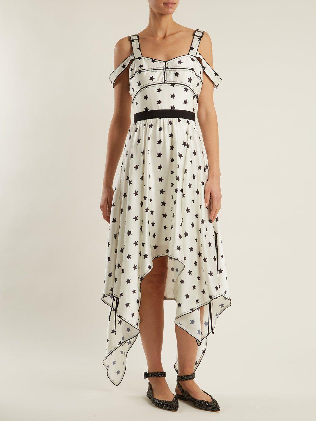 c409dc8255f5 Click here to buy Self-portrait Handkerchief-hem star-print satin dress at  MATCHESFASHION.COM