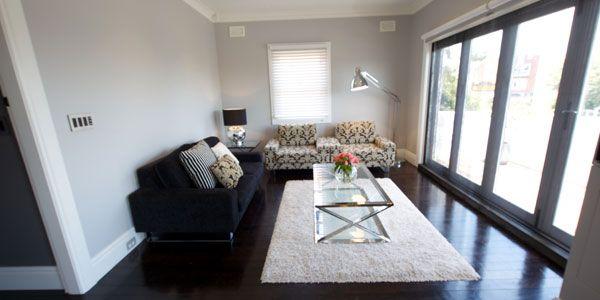 Taubmans Endure Grey Comfort – half strength (Jake & Erin's lounge room from 'The Block')