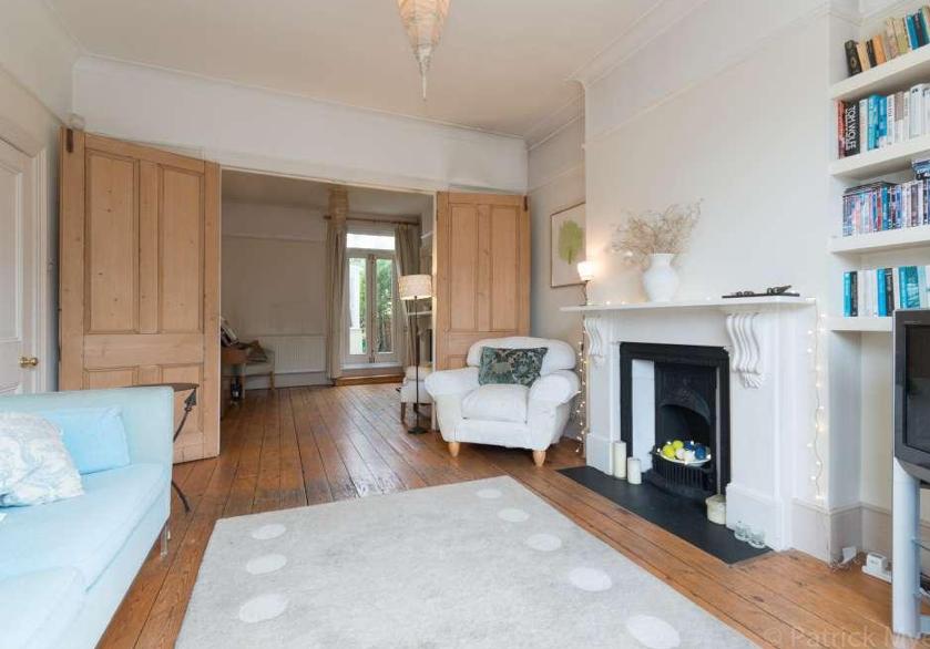 Wooden Double Doors Bookshelves Victorian Terrace Living Room Knock Through Wood Doors Interior Doors Interior