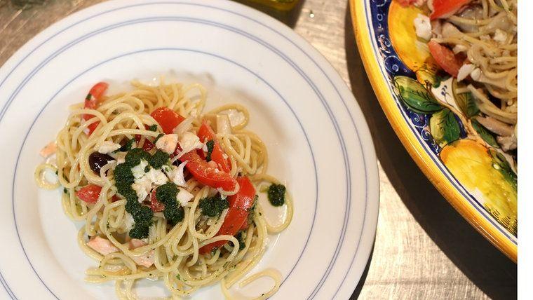 Spaghetti mit Fischfilets