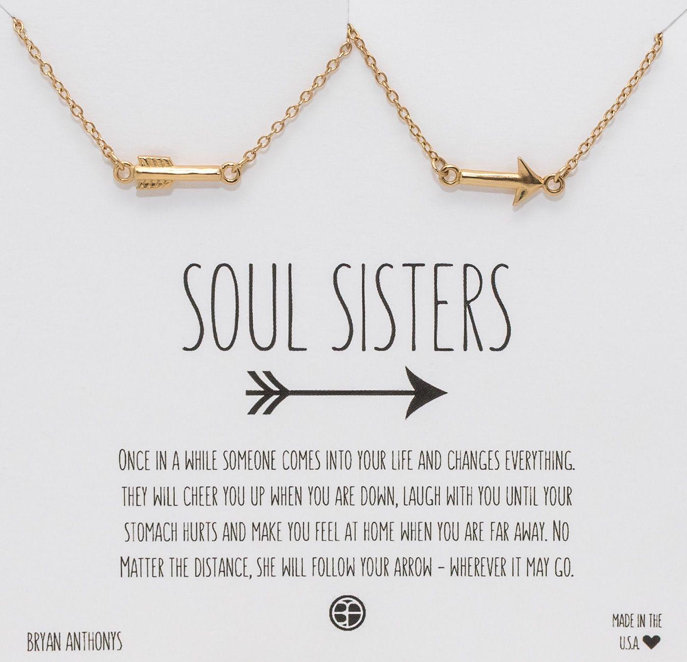 Bryan Anthonys Soul Sisters Best Friend & Sister Delicate Arrow Necklace Halves. $34