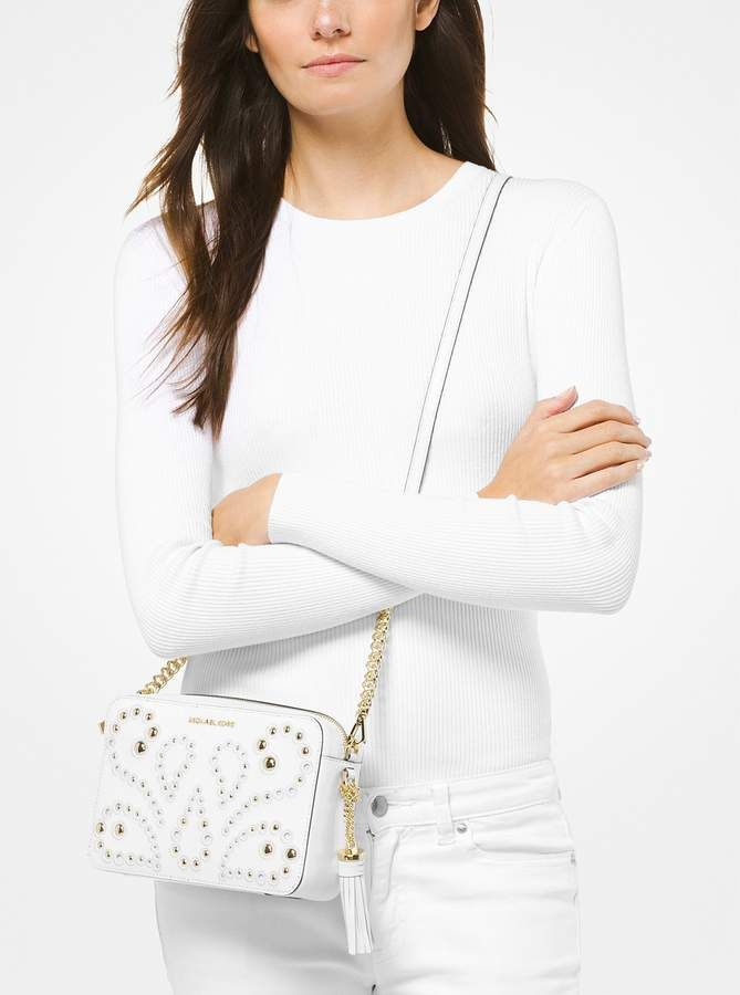 28bcea20eff9a1 MICHAEL Michael Kors Ginny Medium Embellished Leather Crossbody ...