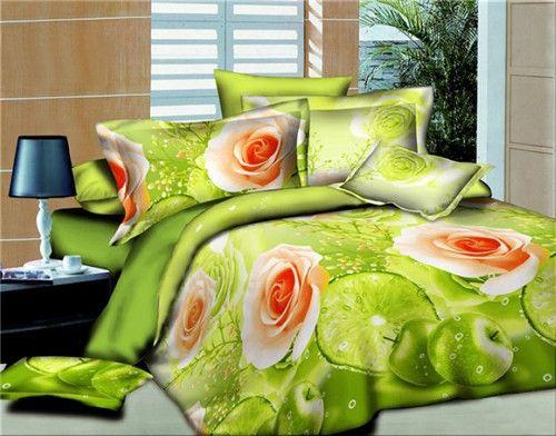 3d Painting Fresh Color Rose Reactive Print Velvet 4 Piece Queen