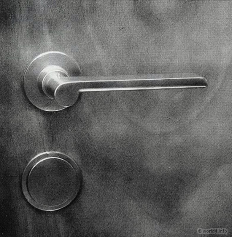 Bauhaus door handle and door fittings design by wilhelm for 1930s interior door handles