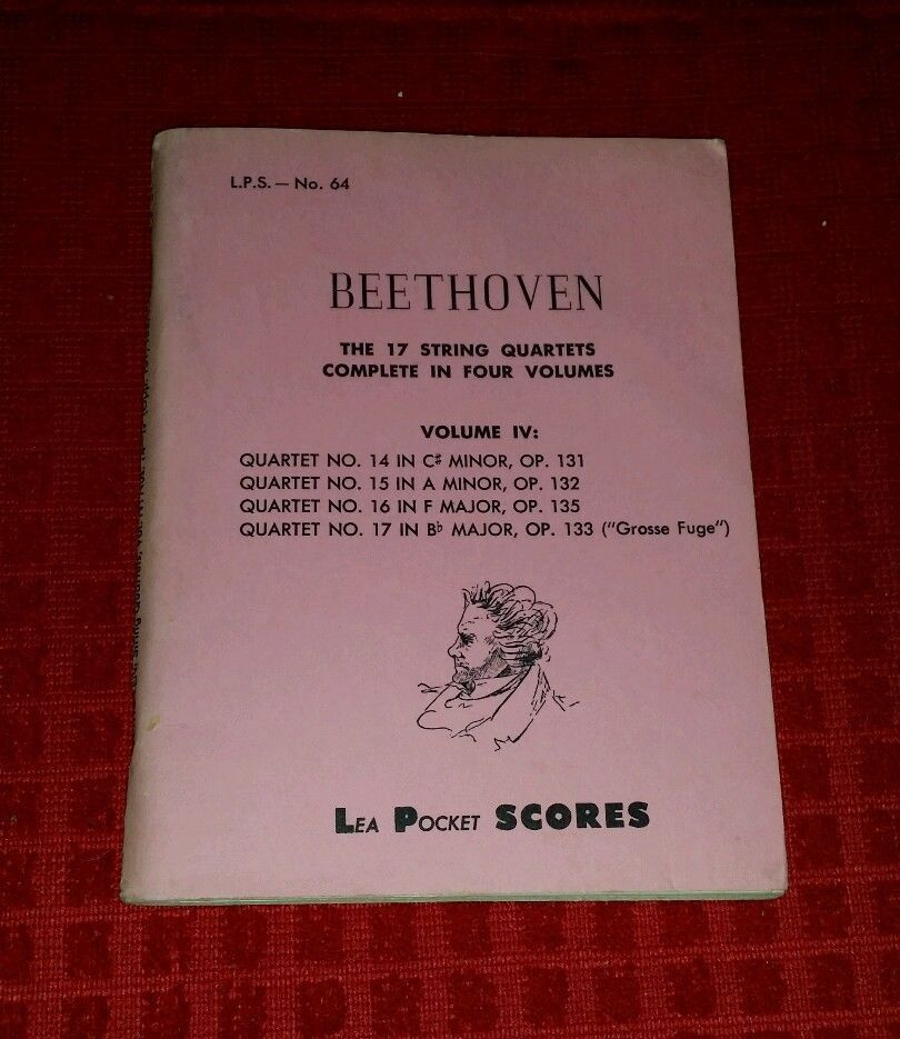 Vintage 1955 LEA Pocket Scores BEETHOVEN Vol IV 17 String Quartets
