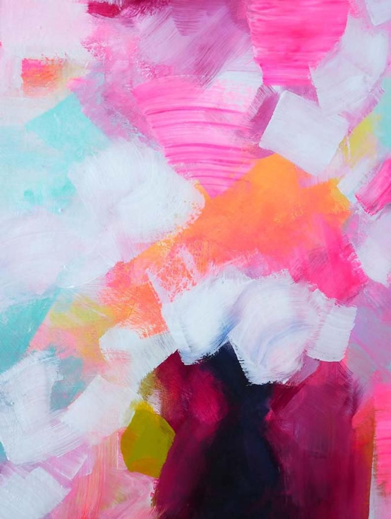 Embellished Abstract Fine Art Print Miami Peaches Bright Etsy Abstract Art Fine Art Prints