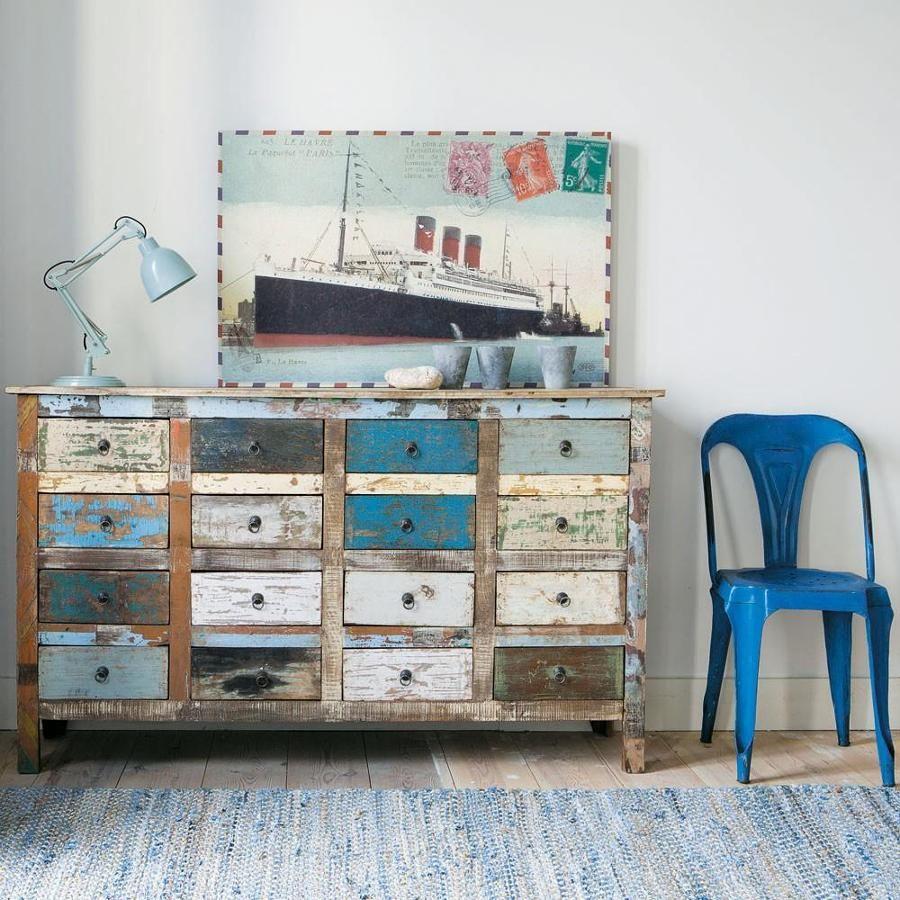 Mueble de entrada envejecido decapado c moda vintage for Muebles de efecto industrial