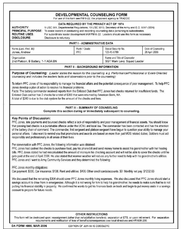 Army Counseling Form 4856 Da Form 4856 Financial Counseling Example Counseling Forms Doctors Note Template Counseling