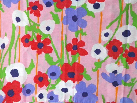 vtg 70s mod poppies floral standard pillowcase set 2 jp stevens utica vintage