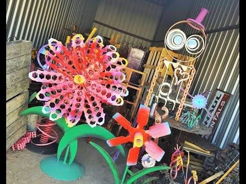 upcycled flower garden ideas scrap metal recycled art by raymond guest