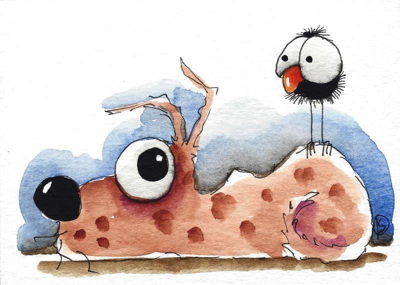 ACEO Original watercolor art painting whimsy brown dog big eyed bird crow hello #IllustrationArt