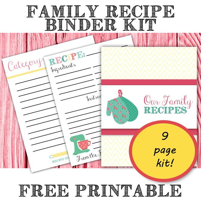 Mesmerizing image within free printable recipe binder kit