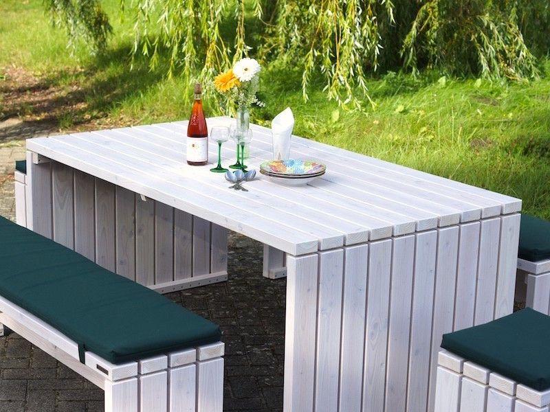 Gartenmöbel Set 1, Transparent Weiß, wetterfestes Holz, Douglasie ...