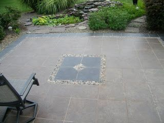 Tile Over My Backyard Concrete Patio... Really Like This Design Idea.