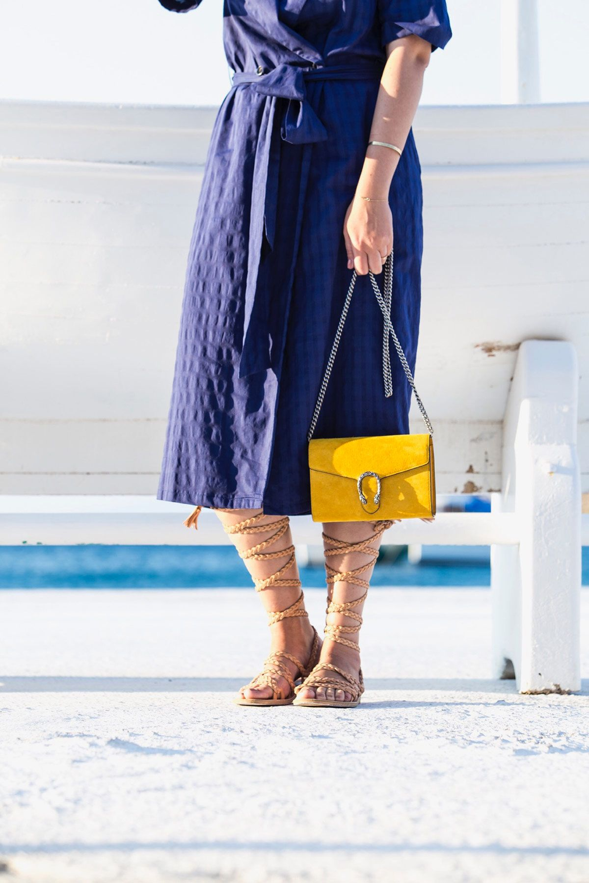 yellow Gucci Dionysus bag (chain wallet) and gladiator sandals by Stella Asteria