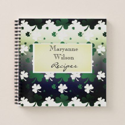 Shamrocks, Green and White on Gradated Field Notebook - sample notebook paper