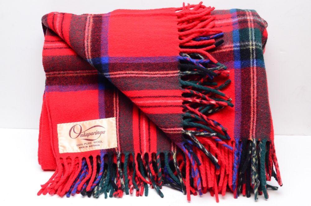 Large Vintage 40% Wool Onkaparinga Throw Blanket Red Plaid 40x40 Enchanting Red Throw Blanket Australia