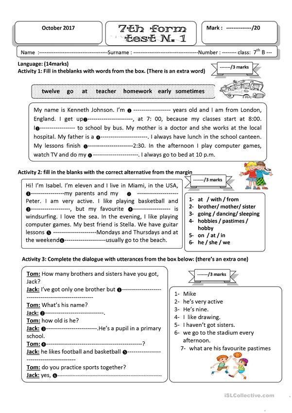 test 1 seventh form Grammar Pinterest English, Worksheets - free printable school forms