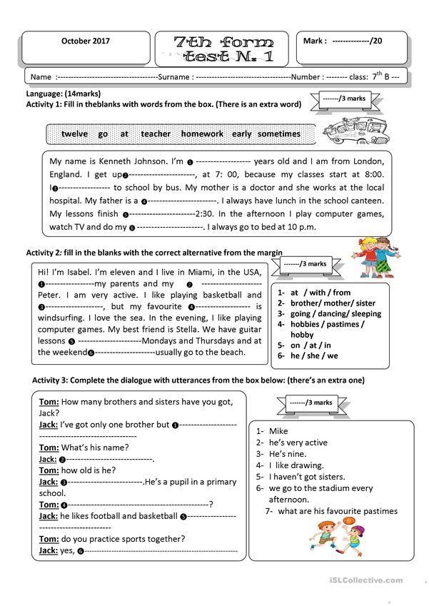 test 1 seventh form | ESL worksheets of the day | Pinterest