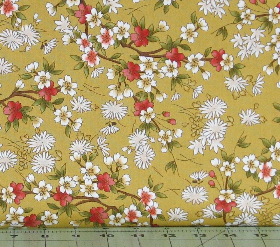 Red Green And White Floral On A Gold Background Cotton Quilt