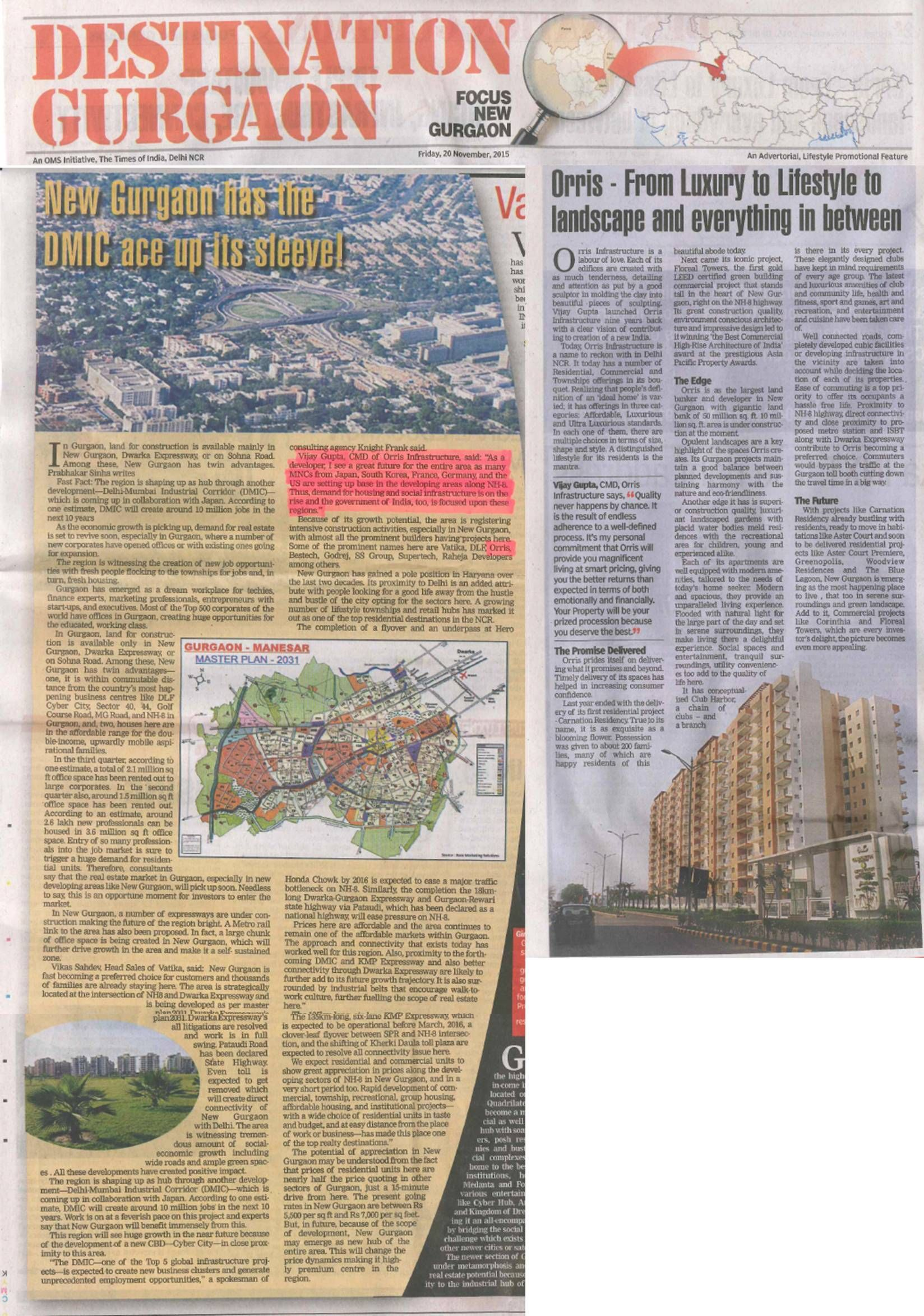 Properties in Gurgaon at #OrrisInfrastructure - From Luxury to Lifestyle to Landscape & everything in between.