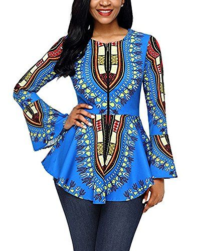 70f7bb669f9140 BeneGreat Womens Long Bell Sleeve African Print Peplum Blouse Top Shirt  Cobalt Blue XXL -- More info could be found at the image url.  #MaternityTopsBlouses