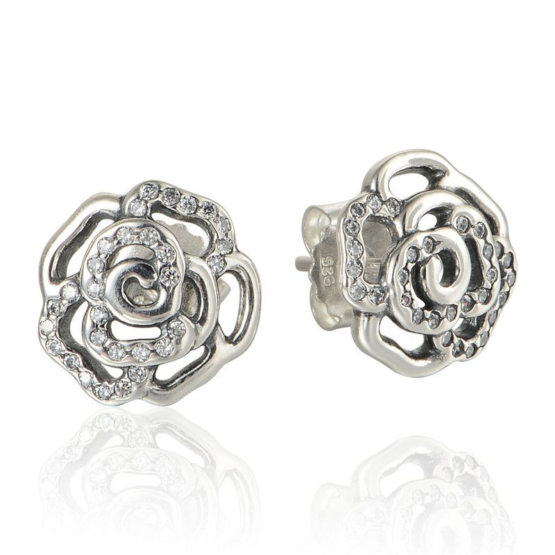 Trendy Jewelry 925 Sterling Silver Earrings Rose Blossom With Clear Cz Stud Earring For Women Whole