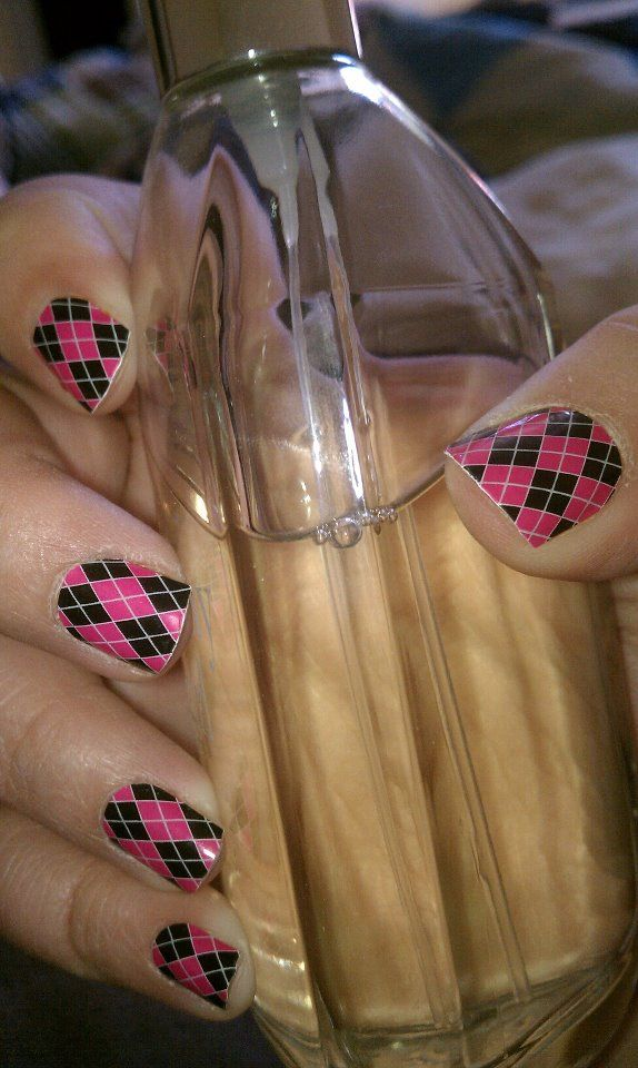 Pink & Black Argyle....It's BUY 3, GET 1 FREE! One sheet is 15.00 and has enough shields to do 2 or 3 sets of nails. They last 2-3 weeks on fingers and 4-6 on toes!